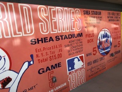 The Mets installed a graphic depicting a ticket to a 1969 WS game.